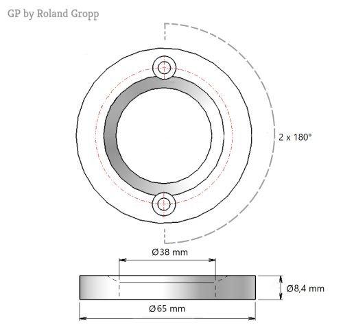 Barista - Mahlscheibensatz GP 652425 TIN Beschichtung